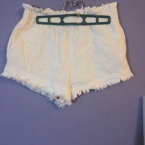 NWOT white paper bag shorts
